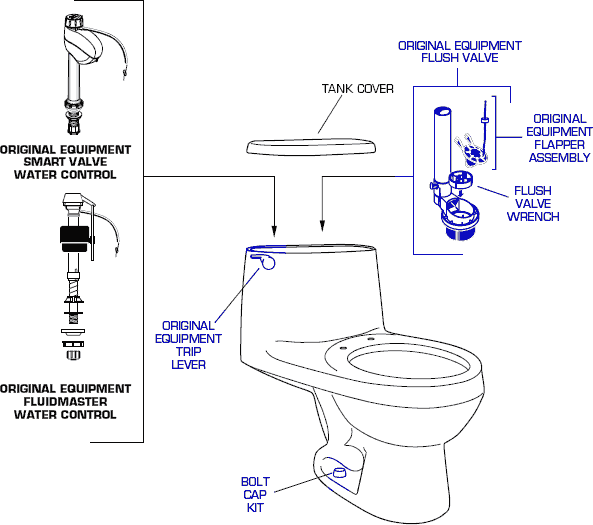 american standard 2100 cadet elongated one piece toilet parts