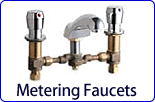 Metering and self closing faucets conserve water, gas, and money anywhere they are installed. Choose from vandal resistant metering valves, in wall push buttons, and Chicago Faucets MeterMix temperature adjusting faucets