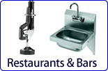 Commercial style faucets for bars and restaurants. Choose from glass fillers, pre rinse faucets, hose reels, vacuum breakers, foot operated pedal faucets by Fisher, Chicago Faucets, T&amp;S Brass and Krowne