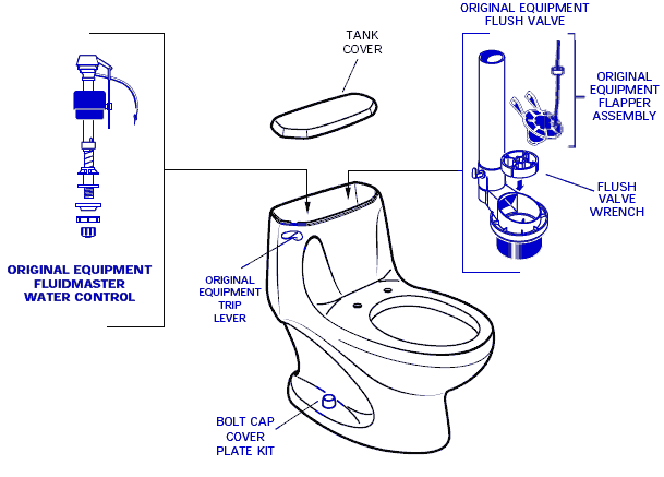 American Standard 2097.014 Savona Elongated Toilet Parts