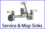 Service and mop sink faucets are usefull for filling pails and buckets. Chicago Faucets, Krowne, Fisher and T&amp;S Service faucets are guaranteed to meet or exceed all standards and codes