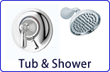 Our huge selection of single, two, and three handle tub and shower faucets. Chicago Faucets, Symmons, and Gerber tub and showers are of the highest quality and available in almost any style.
